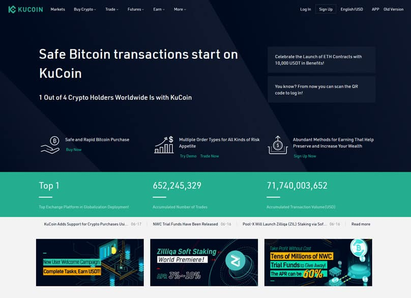Kucoin Page d'accueil